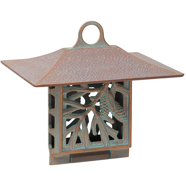 "10""W x 9""H x 6 3/4""D Pinecone Suet Feeder, Copper Verdi"
