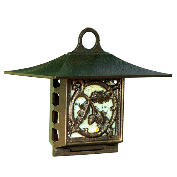 "10""W x 9""H x 6 3/4""D Oak Leaf Suet Feeder, French Bronze"