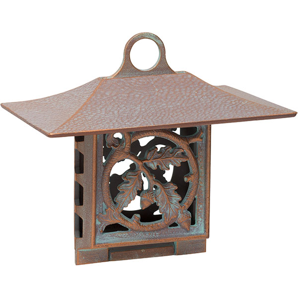 "10""W x 9""H x 6 3/4""D Oak Leaf Suet Feeder, Copper Verdi"