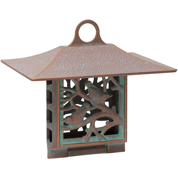 "10""W x 9""H x 6 3/4""D Nuthatch Suet Feeder, Copper Verdi"