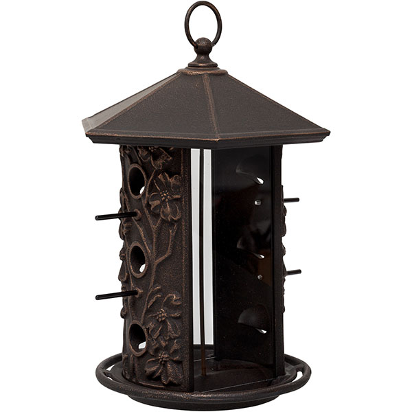 "10 5/8"" x 9 1/4"" x 15 1/8"" Dogwood Bird Feeder, Oil Rub Bronze"