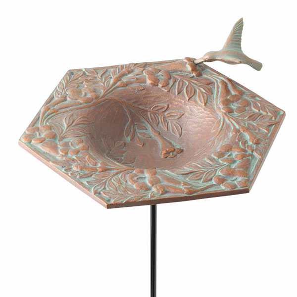 "9"" Diameter x 16 1/2""H Hummingbird Garden Bird Feeder, Copper Verdi"