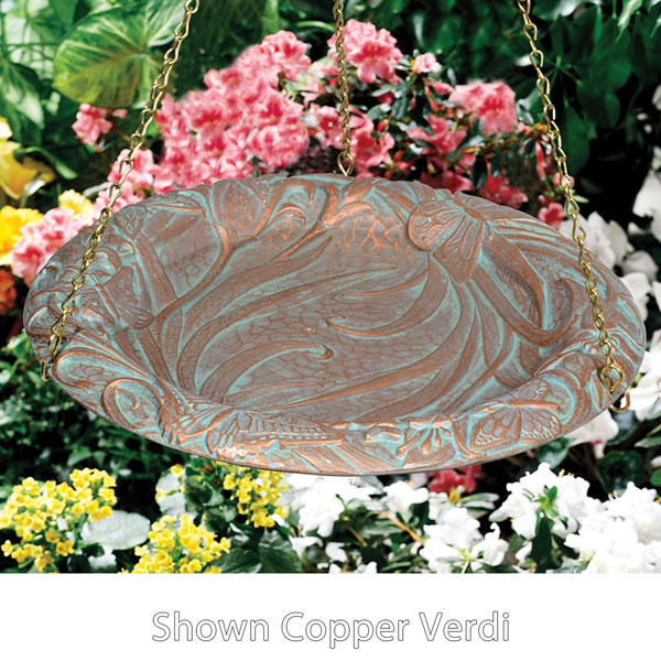 "15"" Diameter, 24""Chain Butterfly Hanging Birdbath, Oil Rub Bronze"