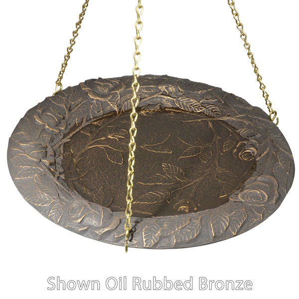 "15"" Diameter, 24""Chain Rose Hanging Birdbath, Copper Verdi"