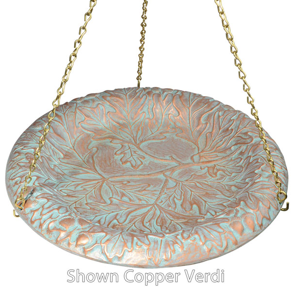 "15"" Diameter, 24""Chain Oakleaf Hanging Birdbath, Oil Rub Bronze"