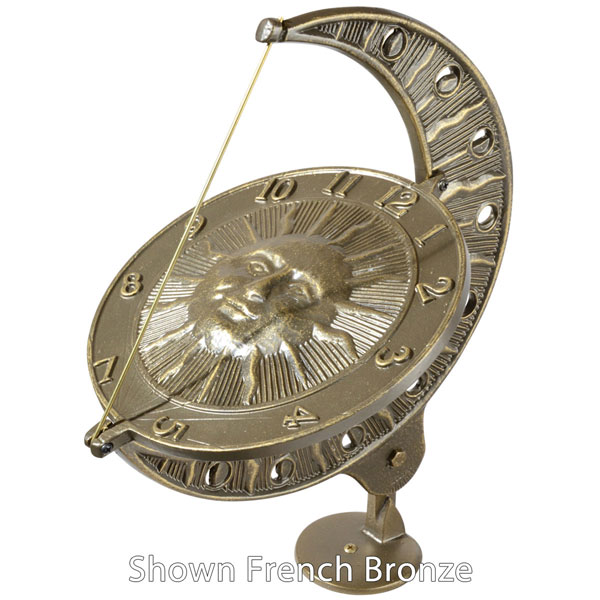 "12""L x 8 3/4""W x 15 1/2""H Sun and Moon Large Sundial, Oil Rub Bronze"