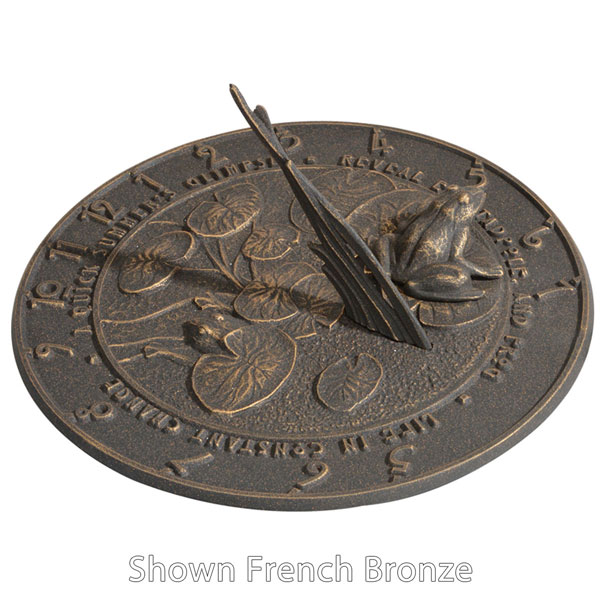 "12"" Diameter Frog Large Sundial, French Bronze"