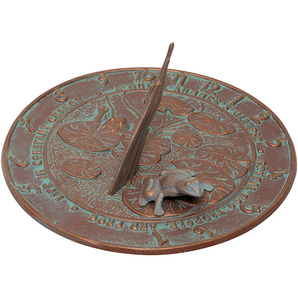 "12"" Diameter Frog Large Sundial, Copper Verdi"