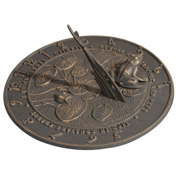 "12"" Diameter Frog Large Sundial, Oil Rub Bronze"