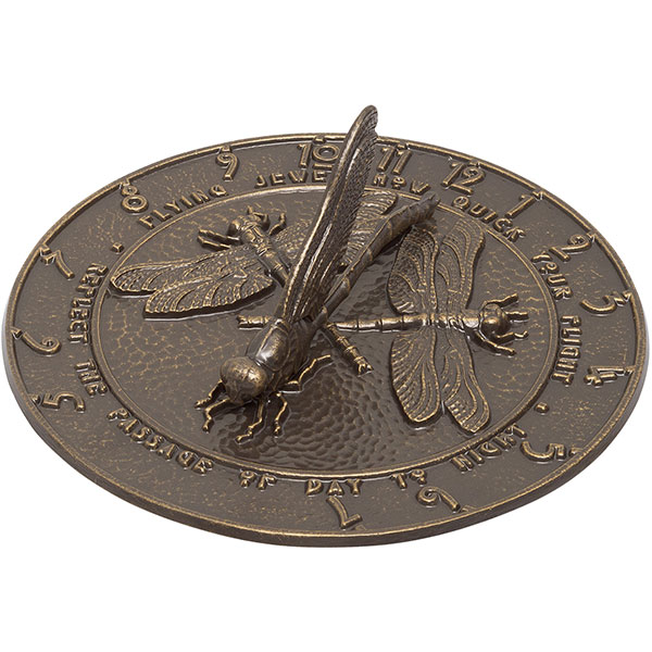 "12"" Diameter Dragonfly Large Sundial, French Bronze"