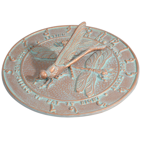 "12"" Diameter Dragonfly Large Sundial, Copper Verdi"