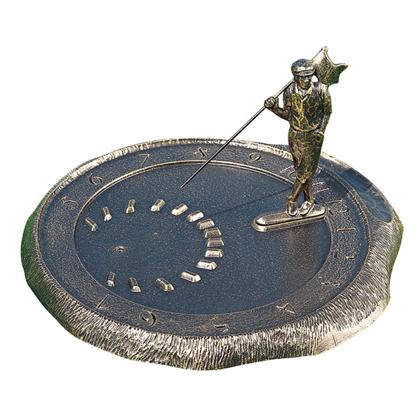 "12"" Diameter Golfer Large Sundial, French Bronze"