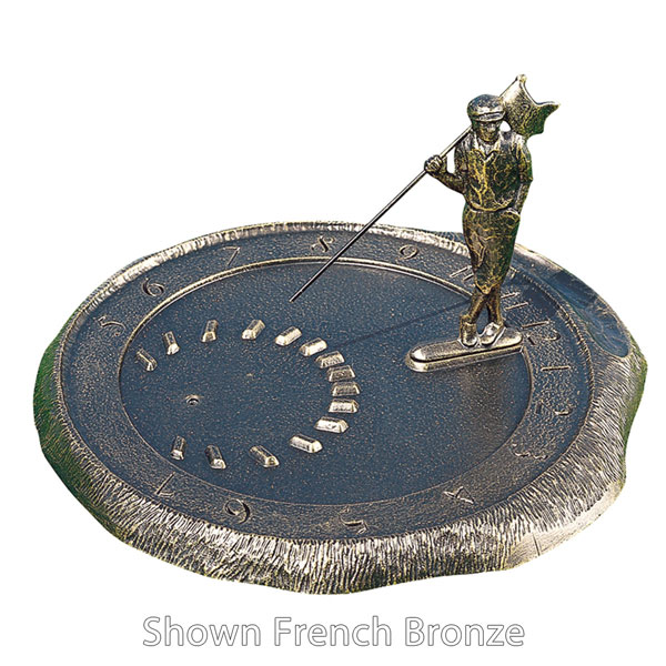 "12"" Diameter Golfer Large Sundial, Copper Verdi"