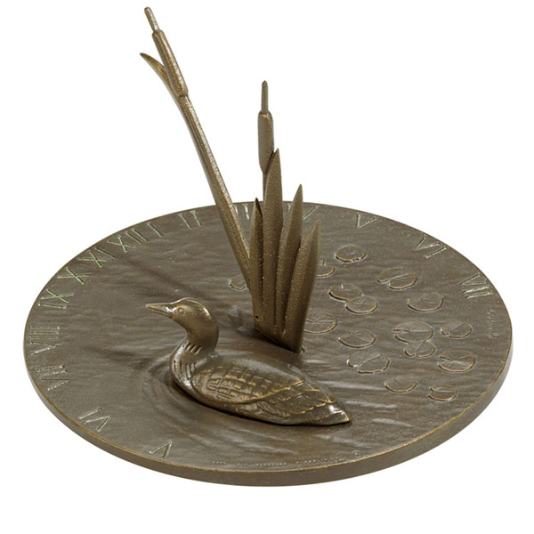 "11 1/4"" Diameter Loon Large Sundial, French Bronze"