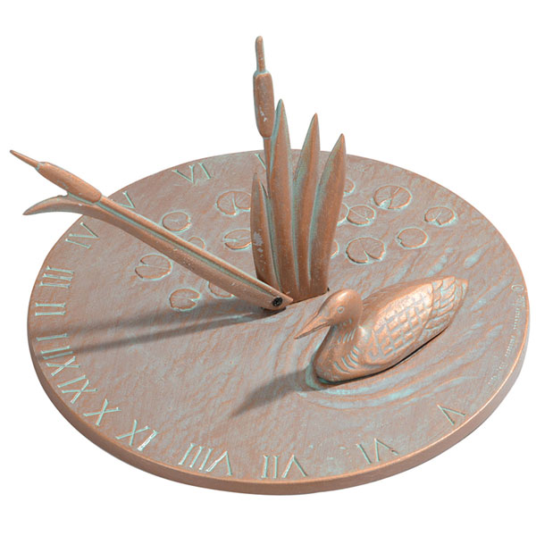 "11 1/4"" Diameter Loon Large Sundial, Copper Verdi"