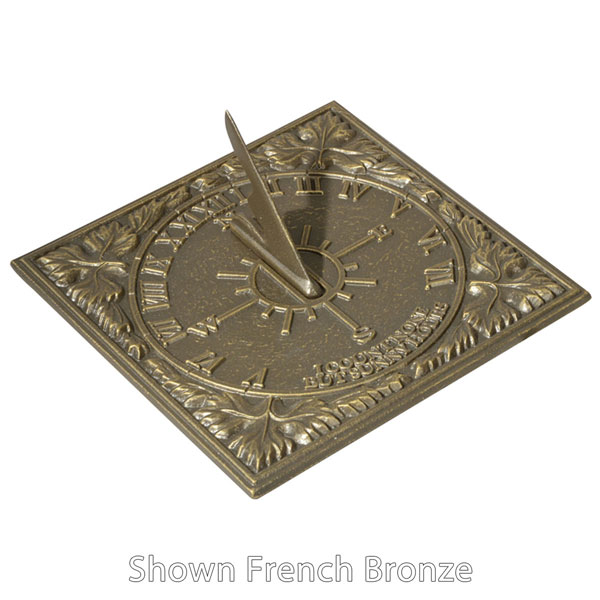 "8 1/4""L x 8 1/4""W Sunny Hours Medium Sundial, Oil Rub Bronze"