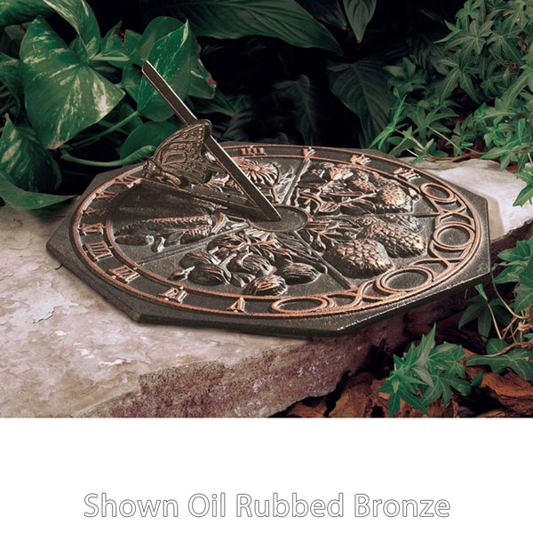 "10"" Diameter Butterfly Medium Sundial, French Bronze"