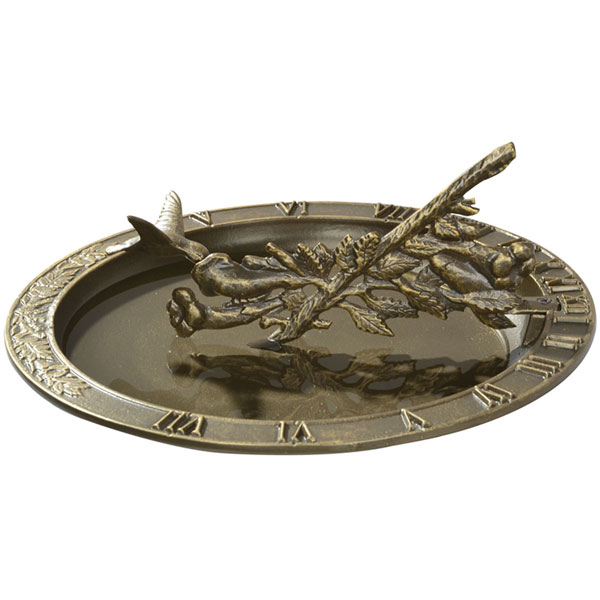 "12"" Diameter Hummingbird Sundial Birdbath, French Bronze"