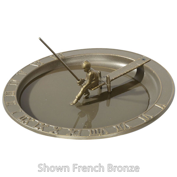 "12 1/2"" Diameter Fisherboy Sundial Birdbath, Oil Rub Bronze"