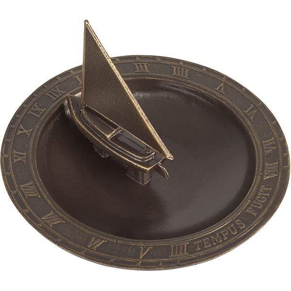 "12 1/2"" Diameter Sailboat Sundial Birdbath, French Bronze"