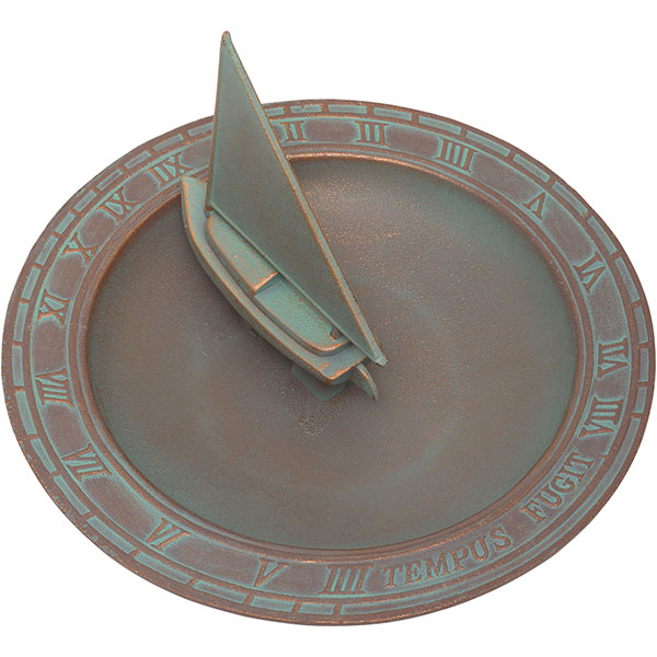 "12 1/2"" Diameter Sailboat Sundial Birdbath, Copper Verdi"