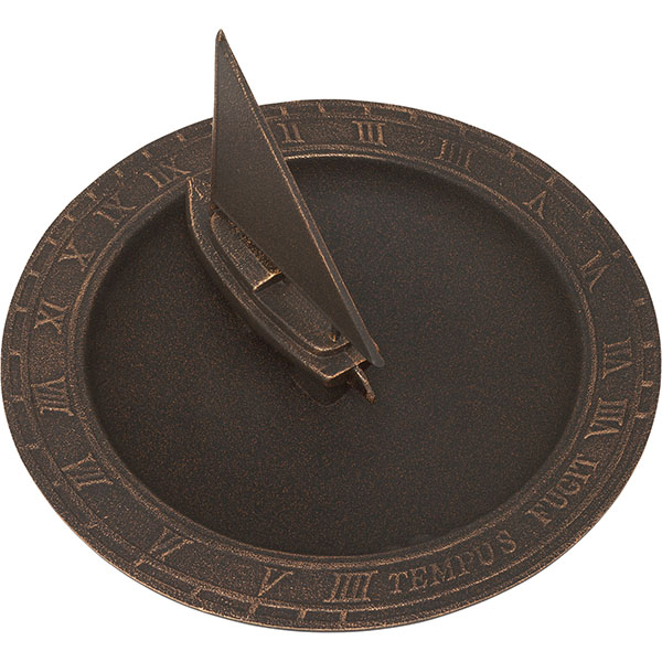 "12 1/2"" Diameter Sailboat Sundial Birdbath, Oil Rub Bronze"