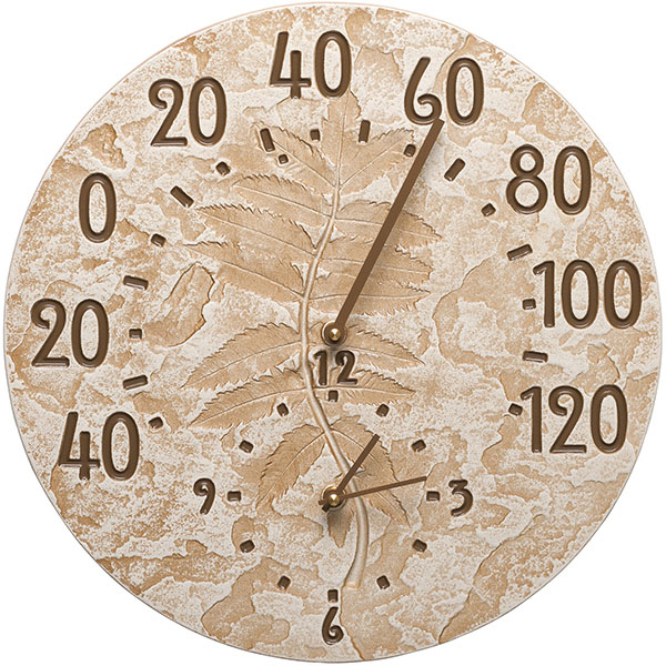 "14 1/2"" Diameter Fossil Sumac Thermometer Clock, Weathered Limestone"