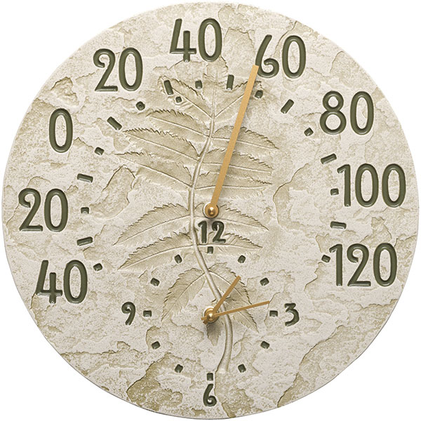 "14 1/2"" Diameter Fossil Sumac Thermometer Clock, Moss Green"