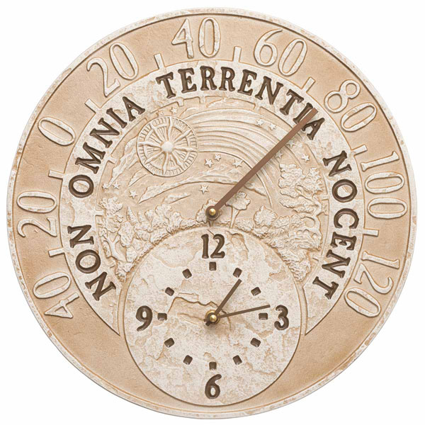 "14 1/2"" Diameter Fossil Celestial Thermometer Clock, Weathered Limestone"