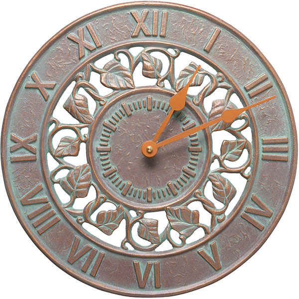 "12"" Diameter Ivy Silhouette Clock, Copper Verdi"