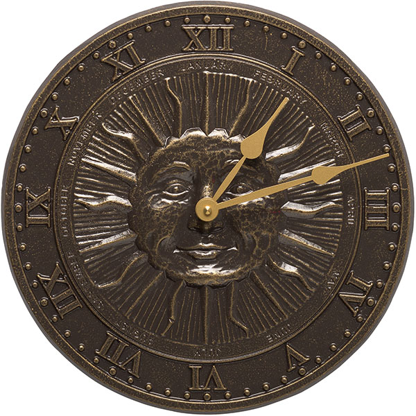 "12"" Diameter Sunface Clock, French Bronze"