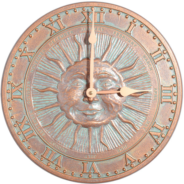 "12"" Diameter Sunface Clock, Copper Verdi"