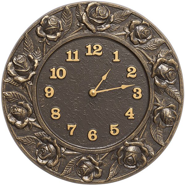 "12"" Diameter Rose Clock, French Bronze"