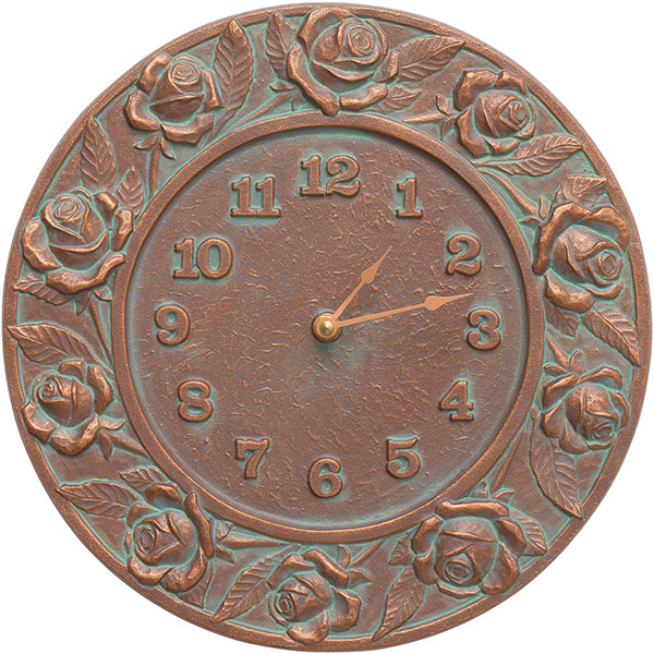 "12"" Diameter Rose Clock, Copper Verdi"