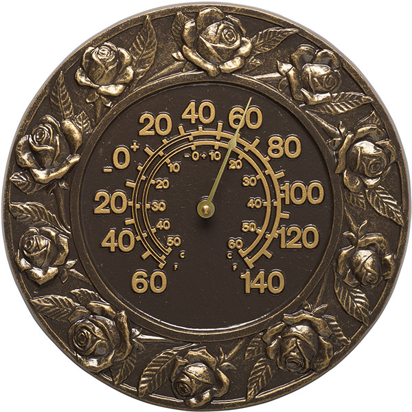 "12"" Diameter Rose Thermometer, French Bronze"