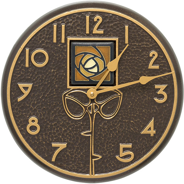 "12"" Diameter Amber Dard Hunter Rose in French Bronze, Clock"