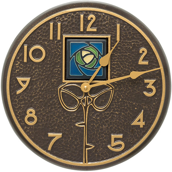 "12"" Diameter Blue Dard Hunter Rose in French Bronze, Clock"