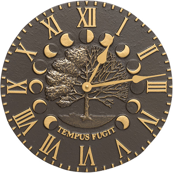 "12"" Diameter Times & Seasons Clock, French Bronze"