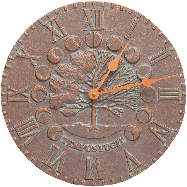 "12"" Diameter Times & Seasons Clock, Copper Verdi"