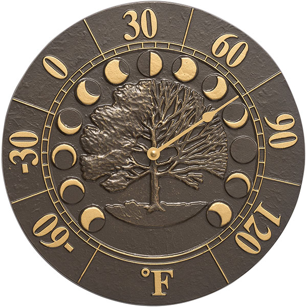 "12"" Diameter Times & Seasons Thermometer, French Bronze"