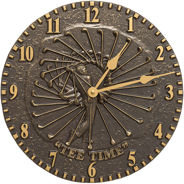 "12"" Diameter Golfer Clock, French Bronze"