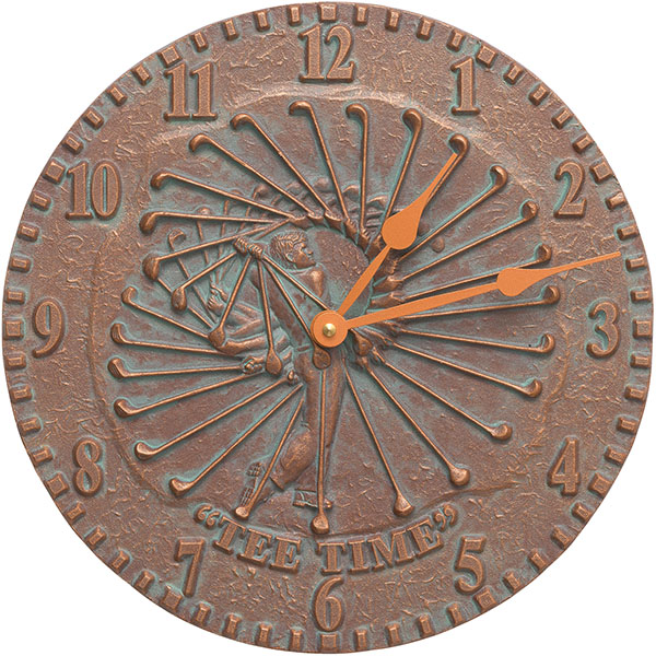 "12"" Diameter Golfer Clock, Copper Verdi"