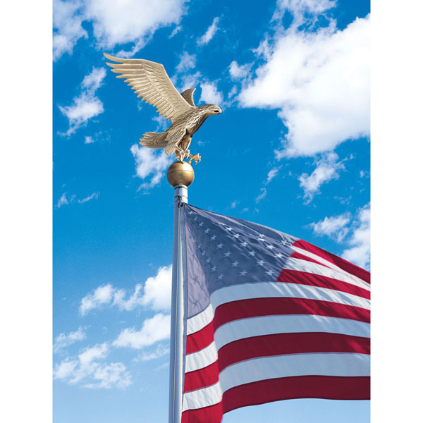"15""W x 19""H Large Flagpole Eagle, Gold Bronze"