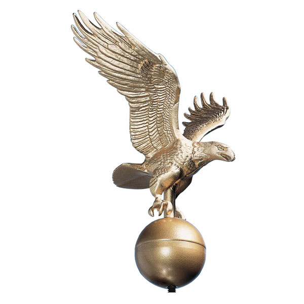 "12""W x 12""H Medium Flagpole Eagle, Gold Bronze"