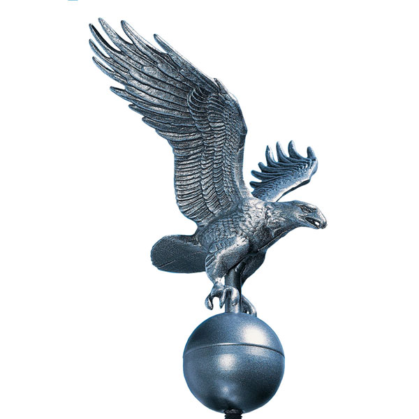 "12""W x 12""H Medium Flagpole Eagle, Pewter"