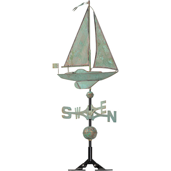 "19""L x 4""W x 49""H Copper Sailboat Classic Directions Weathervane, Verdigris"
