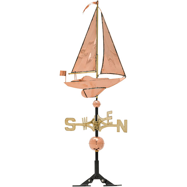 "19""L x 4""W x 49""H Copper Sailboat Classic Directions Weathervane, Polished"