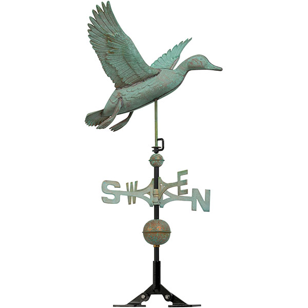 "24""L x 25""W x 37""H Copper Duck Classic Directions Weathervane, Verdigris"