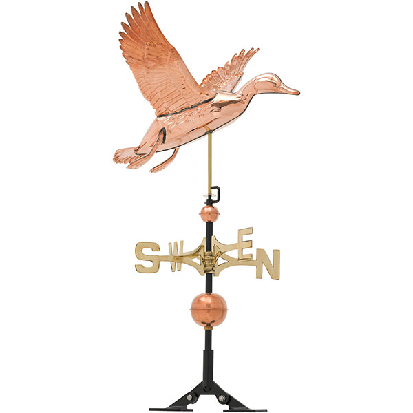 "24""L x 25""W x 37""H Copper Duck Classic Directions Weathervane, Polished"