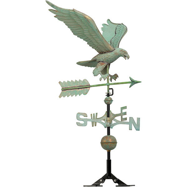 "15 1/2""L x 27""W x 58""H Copper Eagle Classic Directions Weathervane, Verdigris"